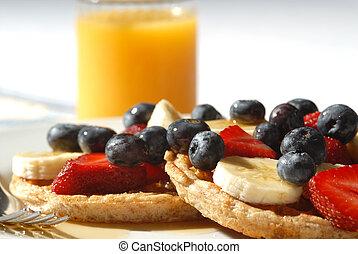 Breakfast - waffles with fruit