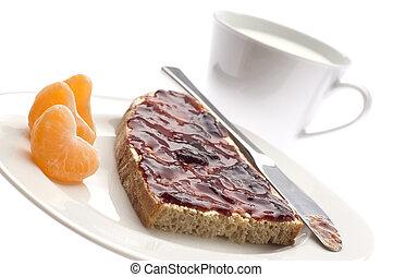 breakfast - healthy breakfast with marmelade, fruit and milk