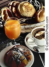 Breakfast table scene illuminated with morning light....
