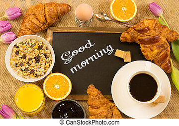 good morning - breakfast table with the message '' good ...