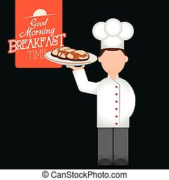 breakfast time chef man tray pancakes delicious vector...