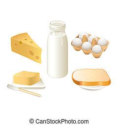 Breakfast time - Traditional breakfast food - milk, butter,...