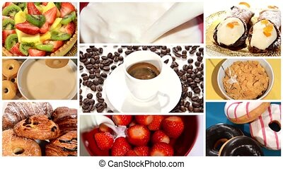 breakfast time montage - collage including diverse pastries...