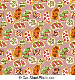 Breakfast toast seamless pattern backgroun slices toasted crust sandwich fried toaster cartoon style bread and butter vector illustration. Crust sandwich fresh cooked bakery lunch nutrition snack.