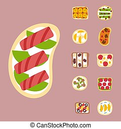 Breakfast toast set slices with butter toasted crust sandwich fried toaster flat cartoon style bread and butter vector illustration. Crust sandwich fresh cooked bakery lunch nutrition snack.