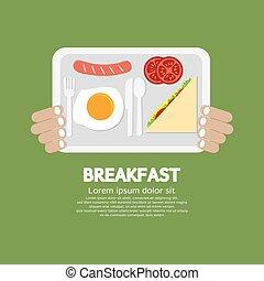 Breakfast Tray In Hand Vector.