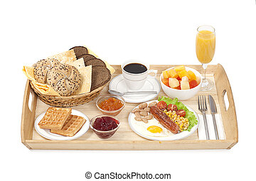Breakfast tray consisting fried egg with sausage, coffee,...