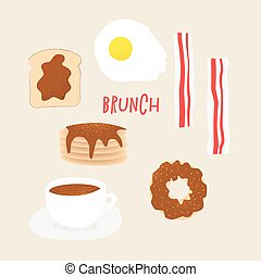Breakfast vector concept, brunch illustration