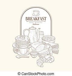 Breakfast, Vector Illustration Banner