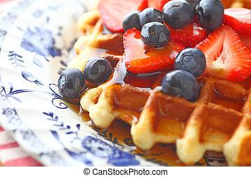 Breakfast waffle with fresh fruit