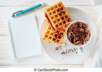 breakfast waffles and cocoa