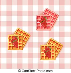 Breakfast waffles on vintage pattern Vector background