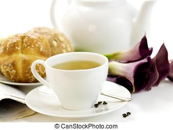 Breakfast whith green tea Crusty French Bread - Breakfast...