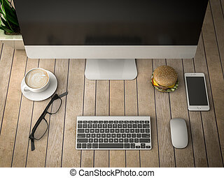breakfast with a computer 3d illustration