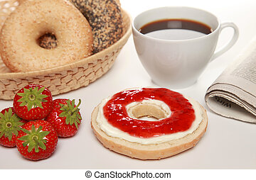Breakfast with bagels