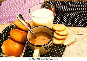 breakfast with bread coffee