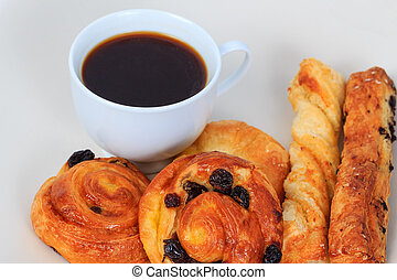 Breakfast with coffee and bread