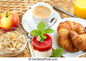 breakfast with coffee, croissants, orange juice