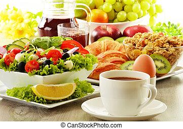 Breakfast with coffee, juice, croissant, salad, muesli and...