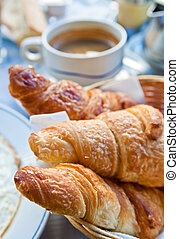 Breakfast with croissants - Breakfast with coffee and...