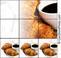 breakfast with cup of black coffee, croissants