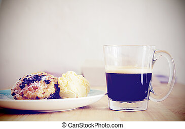 Breakfast with cup of black coffee