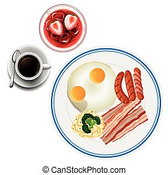 Breakfast with eggs and tea