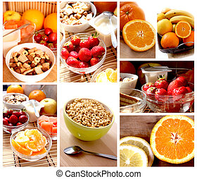 breakfast with fruits and cereals