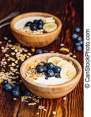 Breakfast with Granola, Banana and Blueberry.