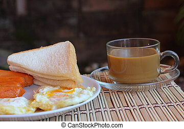 Breakfast with hot coffee