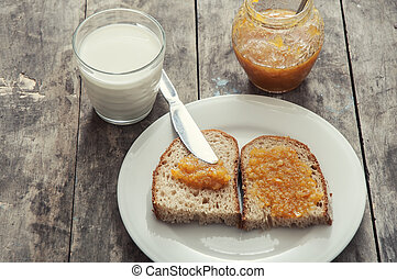 Breakfast with jam and bread