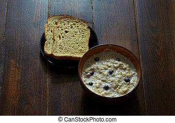 Breakfast with oatmeal porridge