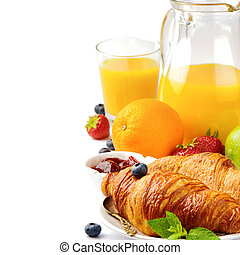 Breakfast with orange juice and fresh croissants isolated over white