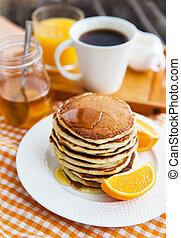 Breakfast with pancakes - Stack of freshly prepared pancakes...