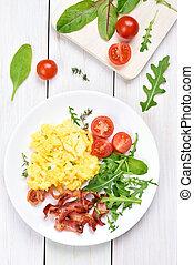 Breakfast with scrambled eggs