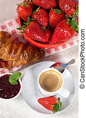 Breakfast with strawberries