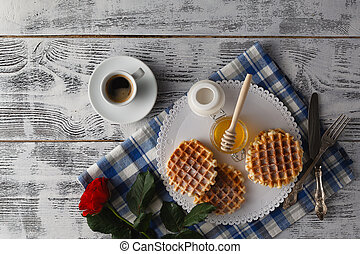 Breakfast with Viennese wafers