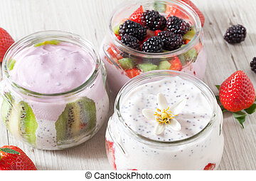 Breakfast With Yogurt And Fruits