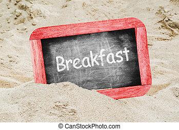 Breakfast written with chalk on blackboard
