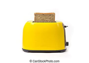 yellow toaster on a white background