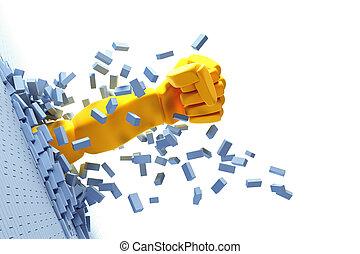 breaking brick wall by hand - 3d hand burst through brick...