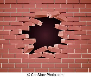 Breaking Brick Wall Hole - A breaking brick wall being blown...