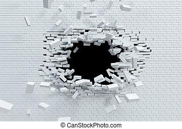 breaking brick wall