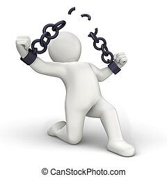 Personage 3D breaking chains on white background