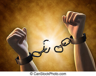 Breaking chains - Recovering freedom: a man breaking a...