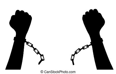 Breaking free - Illustration of a person breaking chains