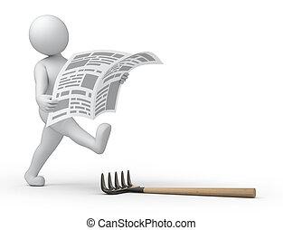 breaking news... 3d human, newspaper and rake