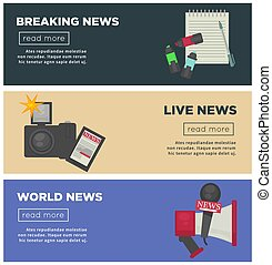 Breaking news and journalism profession flat vector bannersr...