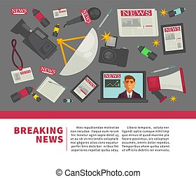 Breaking news and journalism profession flat vector poster...