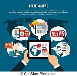 Breaking News Background - Breaking news background with...